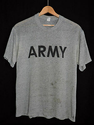 RARE Vintage 80s ARMY Heather Gray Paper Thin Soft T-shirt L Distressed USA