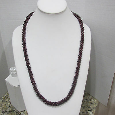 """Vintage Beaded Garnet Cluster Necklace 28"""" Continuous Rare"""