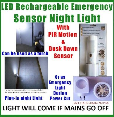 Led Sensor Night Light With removable Torch rechargeable long life battery