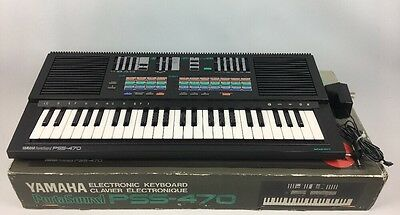 Vintage Yamaha PSS-470 Stereo Digital Synthesizer Piano 49 Key W/ Power Adapter
