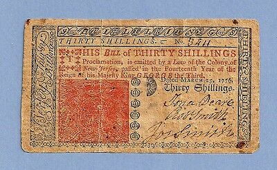 1776 New Jersey 30 Shillings Colonial Currency Sharp Very Fine Grade