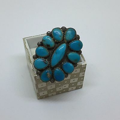 Large Turquoise Silver Ring ~ Marked MAJ ~ Needs TLC