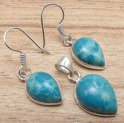 Exciting Earrings & Pendant Matching SET, LARIMAR Drop Gem Silver Plated Jewelry