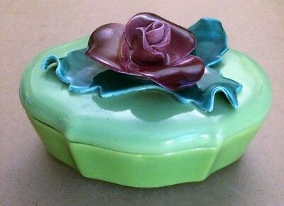 JOHANNES BRAHMS California Pottery OVAL Trinket Candy Dish #665 lime Green