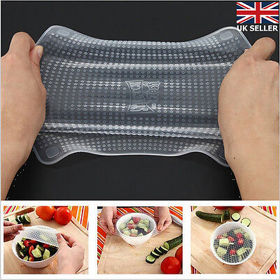 4pcs Silicone Wraps Seal Cover Stretch Cling Film Food Fresh Keep Kitchen set