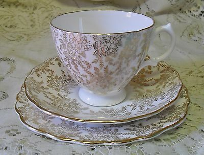 Vintage Royal Vale Gold Chintz Trio Cup Saucer Plate Made In England