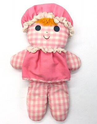 """Fisher Price Pink Baby Lolly Rag Doll 13"""" Toy Rattle Vintage 1975 #420"""