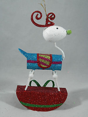 Blue Glittered Rocking Reindeer Christmas Tree Ornament new holiday