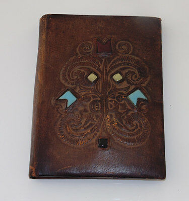 Brown Leather Bound Embossed Stone Inserts Book NoteBook Cover Hard Covers
