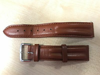 Genuine Leather Watch Strap Brown 18mm with spring bars