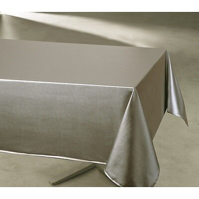 Nappe moderne rectangulaire anti taches unie taupe 145x240 cm
