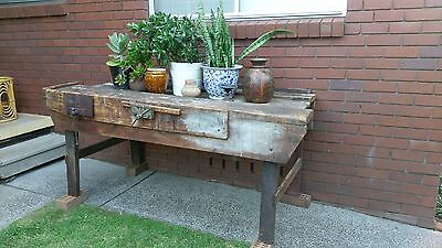 Solid Timber Industrial Workbench Bench with 2 x Vices. Pick up Mt Warrigal NSW