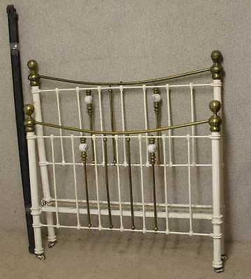 1920s Double Brass and Iron Bed Head/Foot and Rails  with china bobble decor