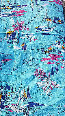 Vintage 50s 60s French Parisian Scene Novelty Design Fabric.