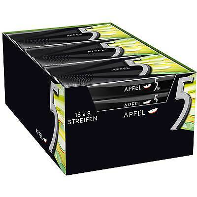 15 Packs x Wrigley´s 5Gum Chewing Gum (APFEL / APPLE)  **FREE SHIPPING**