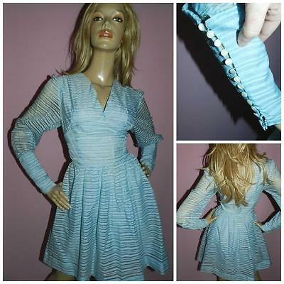 VINTAGE ORIGINAL 50s BABY BLUE STRIPED DEEP CUFF FULL SKIRT DRESS 8-10 WEDDING