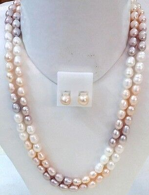Natural Real Fresh Water Pearl Necklace Set Double Line With Earings Bridal Wedd