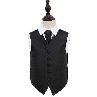 DQT Greek Key Patterned Black Boys Wedding Waistcoat & Cravat Free Pin