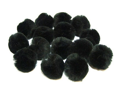 Black Craft Pom Poms | 20mm, 25mm, 30mm or 40mm | British Made