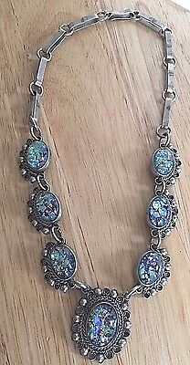 Vintage Sterling And Faux Opal Mexican Necklace