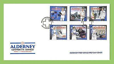 Alderney 2001 Community Services Healthcare set on GPO First Day Cover