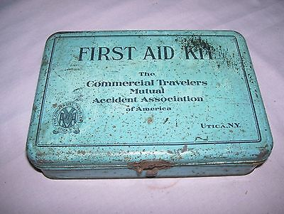 Old Vintage Travelers Mutual Emergency First Aid Kit Tin with Original Contents