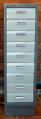 Two tone grey 9 drawer filing cabinet