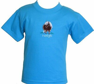 Applique Embroidered Pony Neigh Design Baby Blue T Shirt