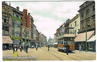 Early Postcard - Tram at Gallowtree Gate Leicester - Transport Theme