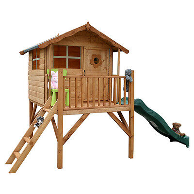 Wooden Playhouse with Slide Wood Tower Garden Play Wendy House Outdoors Patio