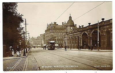 Early Real Photo Postcard - Tram at Leicester Midland Station