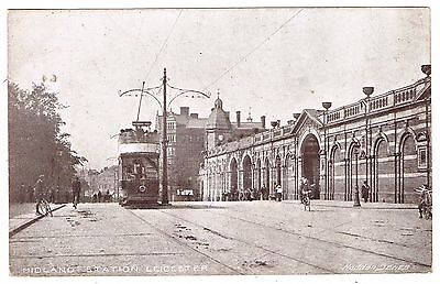 1904 Postcard - Tram at Leicester Midland Station - Squared Circle Postmark