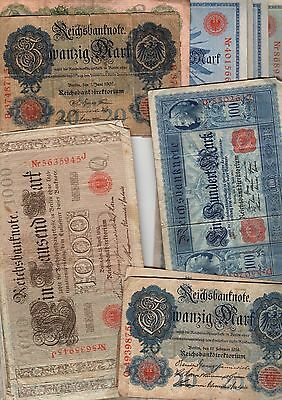 Germany - collection of Reichsbanknotes - 1907 to 1914