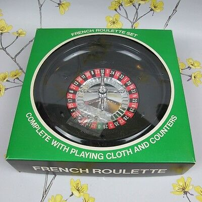 Vintage French Casino Roulette Wheel Set complete with playing cloth & counters.