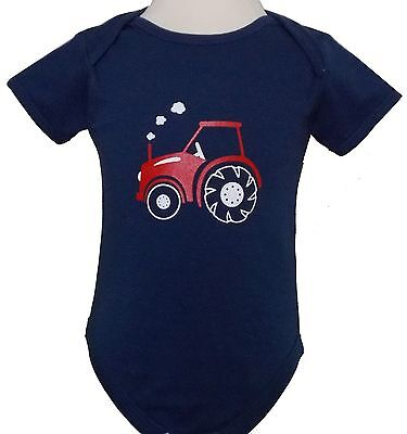 Baby Navy Blue Vest With Red Printed Tractor Design