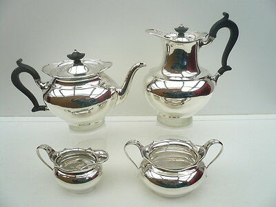 Silver Teaset, Sterling, 4 Piece, English, Vintage, Hallmarked 1924