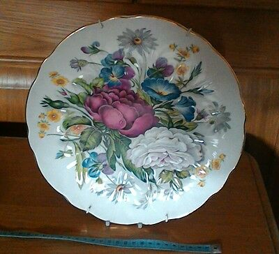 ENGLISH FINE CHINA large floral scallop-edge plate with wall hanger