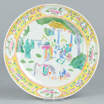 Antique 19th C Famille Jaune Figural Plate Lady Horse Boy Qing Chinese China