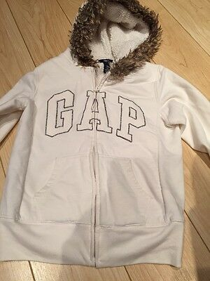 Gap Girls Hoodie Cream With Fur Age 10-12