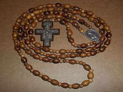 1 used Franciscan rosary w/ 7 decades olive wood beads & San Damiano cross