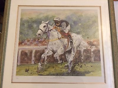 Desert Orchid. Limited Edition Print signed By Richard Dunwoody