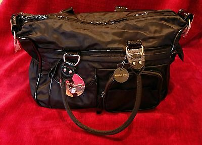 Mimco Lucid Baby Bag Black Nylon Washable Rose Gold Hardware Change Mat BNWT