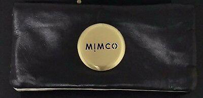 Mimco Leather Classic Black Gold Mim Wallet Purse clutch FREE Post BNWT