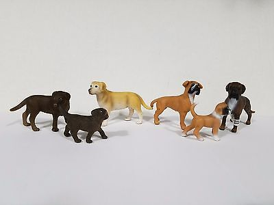 Schleich lot of 6 dogs boxer and Labrador family