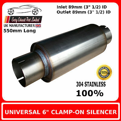 """6"""" x 18"""" Clamp On Stainless Steel Silencer Exhaust Box Body, 3"""" 1/2 (89mm) Bore"""
