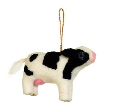 Sage & Co Wool Dairy Cow Ornament~ Farmhouse Decor