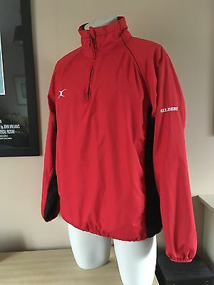 Gilbert Mens Red / Black Rugby Training wind proof 1/4 Zip Jacket Top Size Large