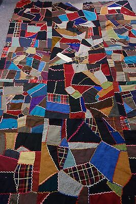 "Victorian Crazy Quilt Top- 59""x92""- Wool -Plaids,Checks,Solids -STUNNING"