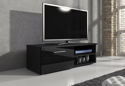 TV Unit Cabinet Stand Lowboard Vegas 120cm Body Black Matt / Fronts Black gloss