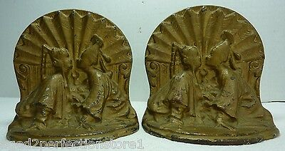Antique Cast Iron Asian Couple Bookends original old gold paint Chinese Art Deco